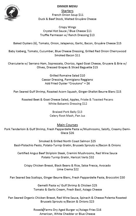 November 6 — Dinner Menu
