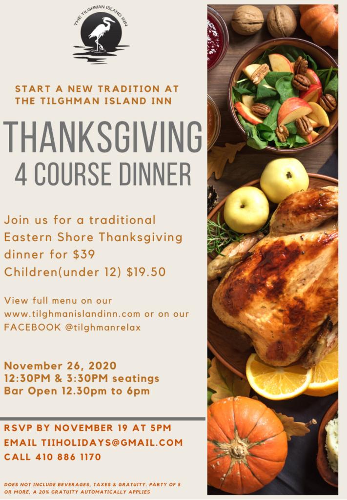 Tilghman Island Inn Thanksgiving Dinner